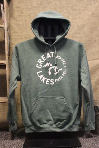 Great Lakes Unsalted & Shark Free Hooded Sweatshirt (Available in Navy & Green)