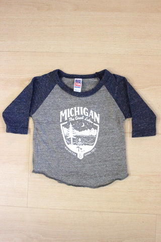 Michigan Shield Unsalted & Shark Free Baby 3/4 Sleeve Tri-Blend Shirt