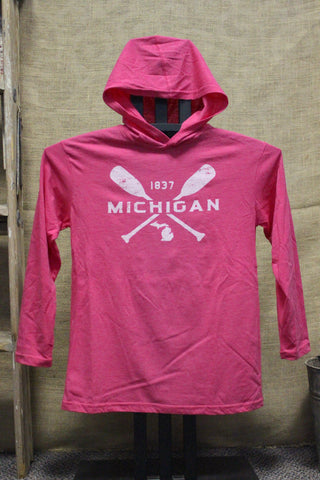 Youth Michigan Paddle Hooded Lightweight Long Sleeve Shirt (Available in Charcoal & Raspberry)