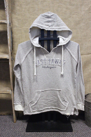 Women's East Tawas Distressed V-Notch Hooded Sweatshirt