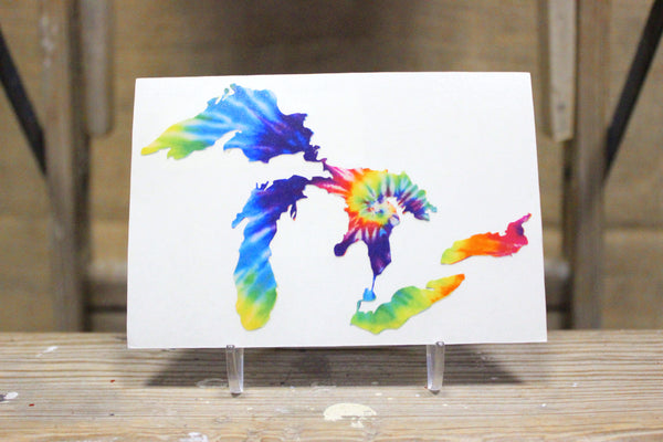 Great Lakes Proud Rainbow Tie-Dyed Decal Sticker - Support our Great Lakes!