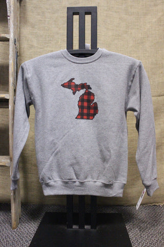 Youth Flannel Plaid Crewneck Sweatshirt