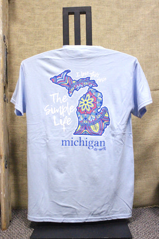 The Michigan Simple Life T-shirt (Available in Lt Blue & Pink)