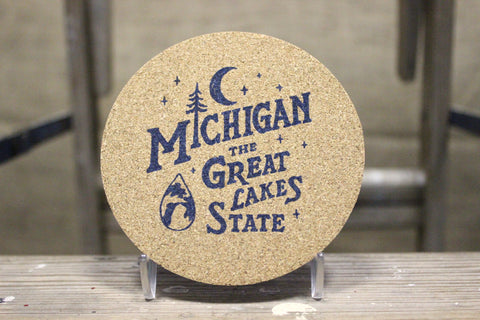 Michigan Vintage Font Cork Coaster Set