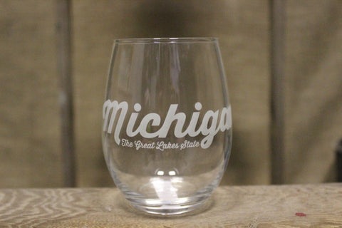 Michigan Script Wine Glass