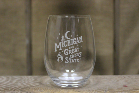 Michigan Vintage Font Wine Glass
