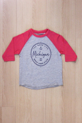 "Toddler Girls ""The Good Life"" Michigan 3/4 Sleeve Baseball Tee"