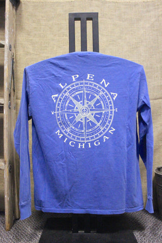 Alpena Compass Over-dyed, Ring-spun, Unisex Pocket Long Sleeve (Available in Royal & Seafoam)