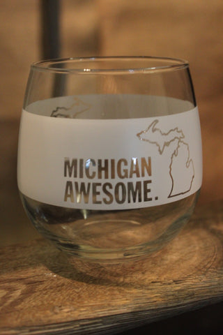 Michigan Awesome Red Wine Glass