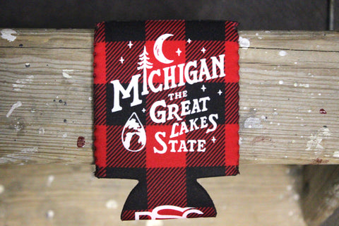 The Great Lakes State Vintage Buffalo Plaid Koozie