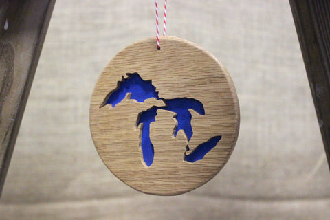 3D Great Lakes Wooden Disc Ornament