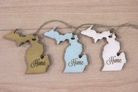 Wooden Michigan Home Ornament