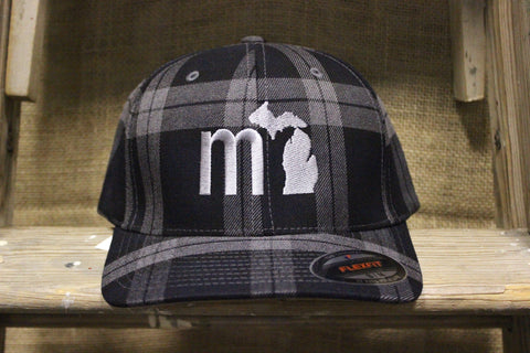 MI State Plaid Fitted Flexfit Hat (Available in black plaid & red plaid)