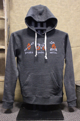 Paddle Pedal Settle Campfire Tri-Blend Unisex Hooded Sweatshirt