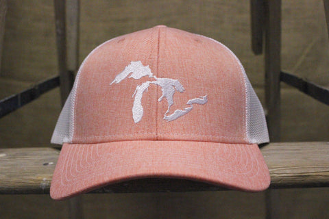 Unsalted Great Lakes Embroidered Adjustable Trucker Hats (Available in Hth Orange & Sky Blue)