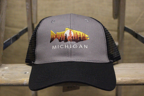 Michigan Fishing Pines Trucker Hat