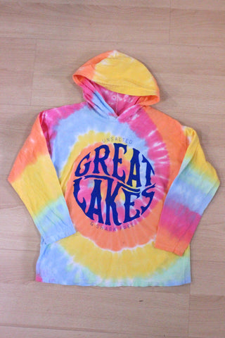 Youth Great Lakes Unsalted & Shark Free Tie Dye Hooded Long Sleeve Shirt