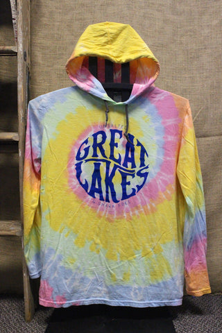 Great Lakes Unsalted & Shark Free Tie Dye Hooded Long Sleeve Shirt