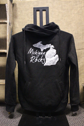 Michigan Rocks Petoskey Stone Funnel Neck Hooded Sweatshirt