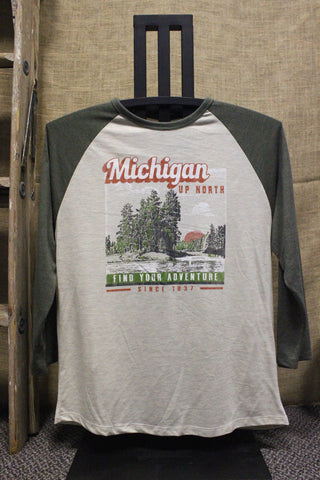 Up North Unisex 3/4 Sleeve Raglan Tri-Blend Shirt (Click to view available colors)