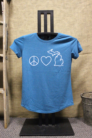 Peace Love Michigan Women's Scoop neck Tri-blend T-Shirt (Click to view available colors)