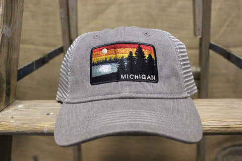 Michigan Sunset Unstructured Trucker Hats (Click to view available colors)