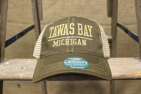 Tawas Bay Adjustable Trucker Hat - Olive