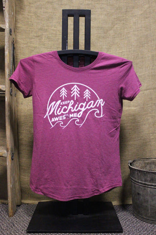Keep Michigan Awesome Women's Scoop neck Tri-blend T-Shirt (Click to view available colors)