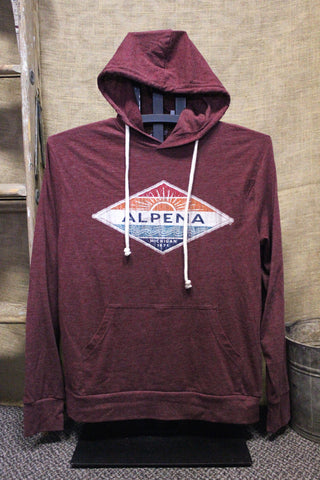 Alpena Hallena Sun Tri-Blend Unisex Long Sleeve Hooded Shirt (Available in Heather Maroon & Navy)