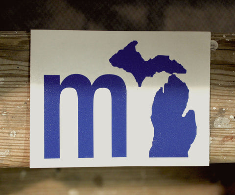 """MI"" State of Mind Michigan Vinyl Car Decal (click to view available colors)"