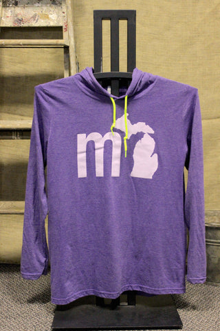 MI State of Mind Hooded Long Sleeve Shirt - Purple