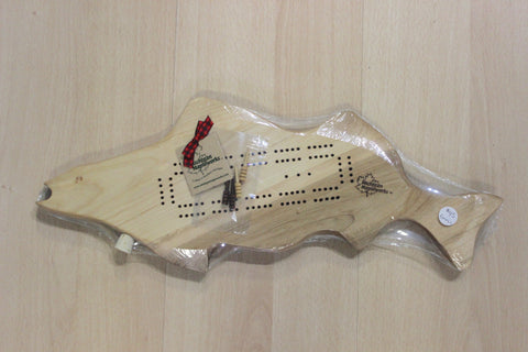 Fish Shaped Walleye Maple Wood Cribbage Board Set