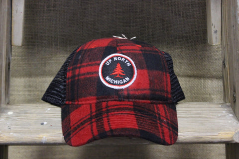 Up North Michigan Plaid Flannel Trucker Hat