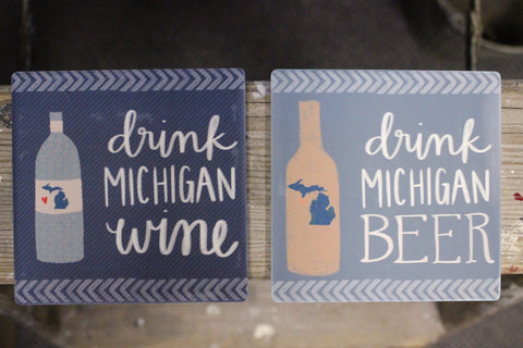 Beer and Wine Michigan Coasters