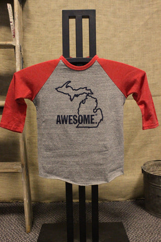 Toddler/Youth 3/4 Sleeve Michigan Awesome Tri-Blend Baseball Tee (Available in Navy & Red)