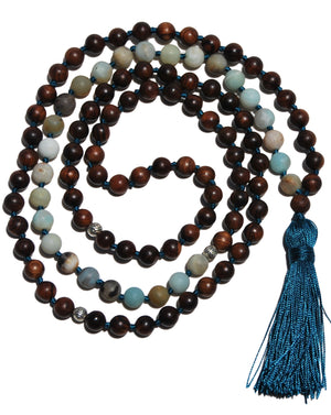 Amazonite and Pear Wood, Throat & Heart Chakra Healing, Mala