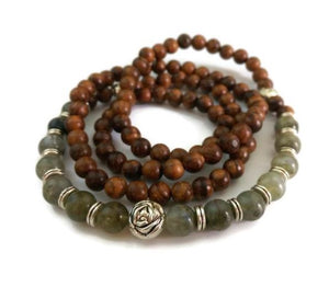 Pear Wood & Labradorite with Silver Lotus Wrist Mala