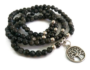 Obsidian & Hematite with Tree of Life Wrist Mala
