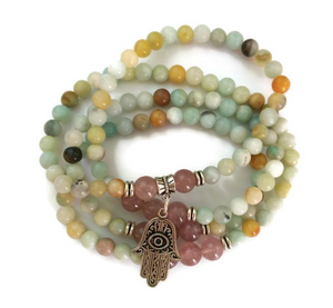 Amazonite & Strawberry Crystal with Hamsa Charm, Wrist Mala