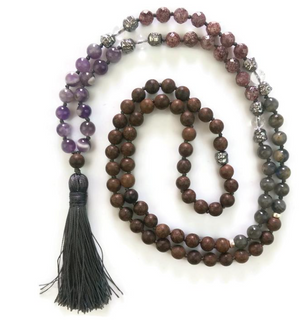 Amethyst, Strawberry Crystal, Labradorite & Agarwood, Meditation Mala
