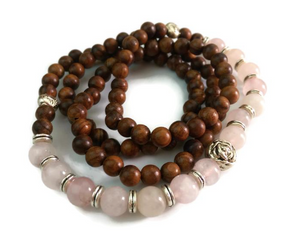 Rose Quartz & Pear Wood Wrist Mala