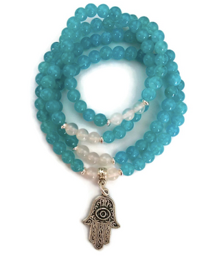 Aquamarine and White Agate with Hamsa Charm, Wrist Mala