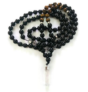 Tiger Eye and Ebony Wood with Crystal Pendant Mala, Solar Plexus Chakra