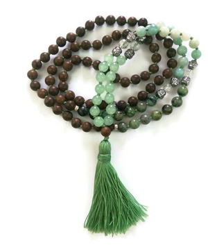 Aventurine Amazonite, African Turquoise and Agarwood Knotted Mala, Heart Chakra