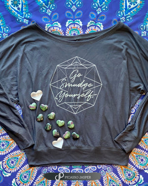 Go Smudge Yourself, Stone Gray Long Sleeve Tee