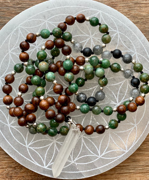 Jade & Sandalwood with Crystal Pendant Mala, Heart Chakra