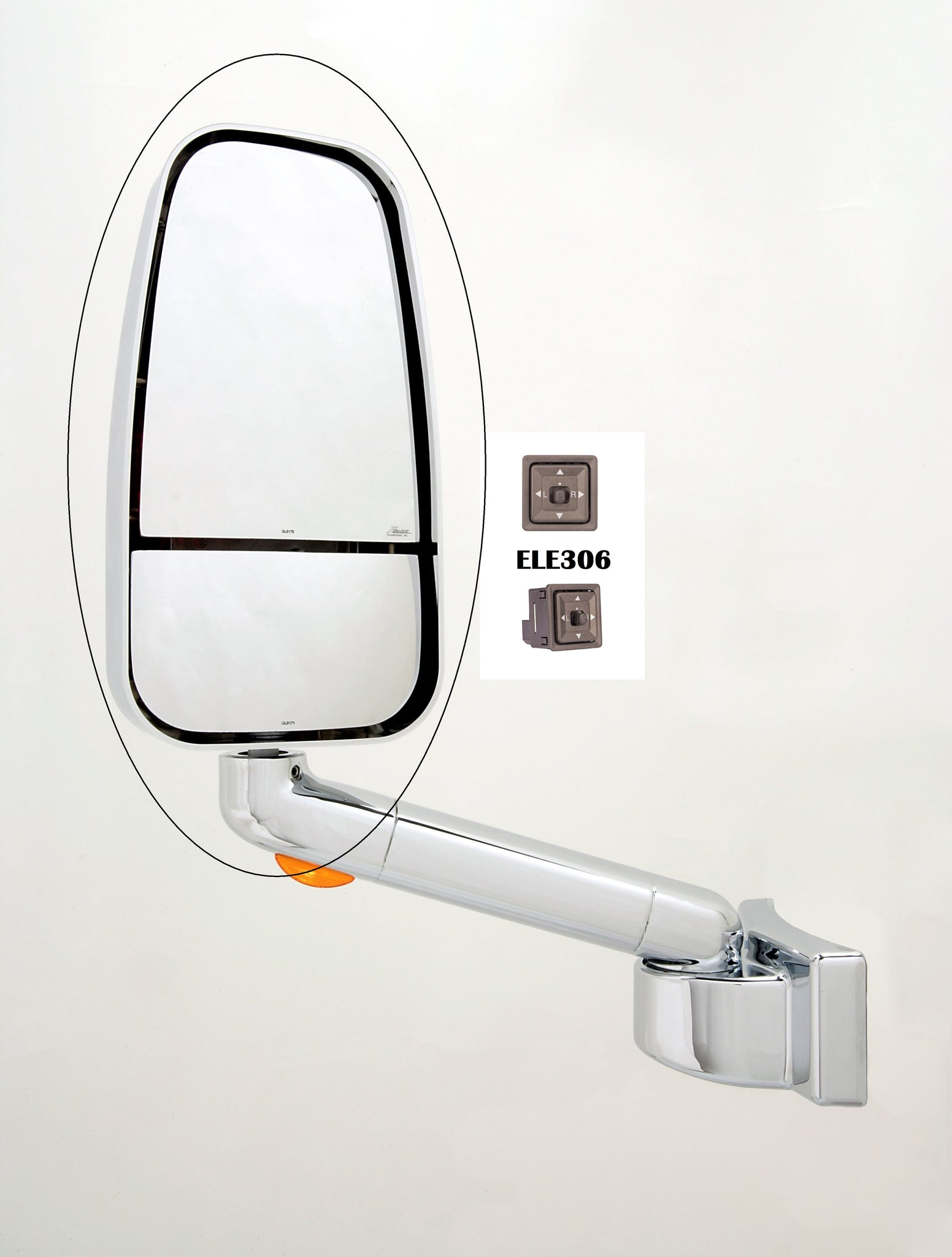 Factory Second Travel Supreme/Jayco/Entegra Chrome 1750 Series Replacement Mirror Head (306-CRM-1703CCHR)