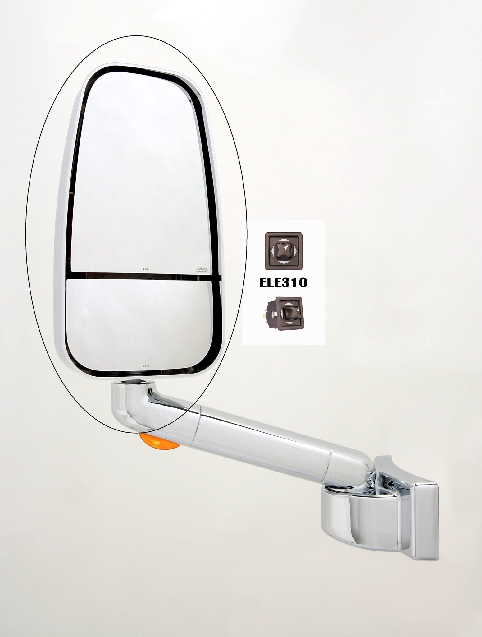 Factory Second Newmar Chrome 1750 Series Replacement Mirror Head (310-CRM-1703CCHR)