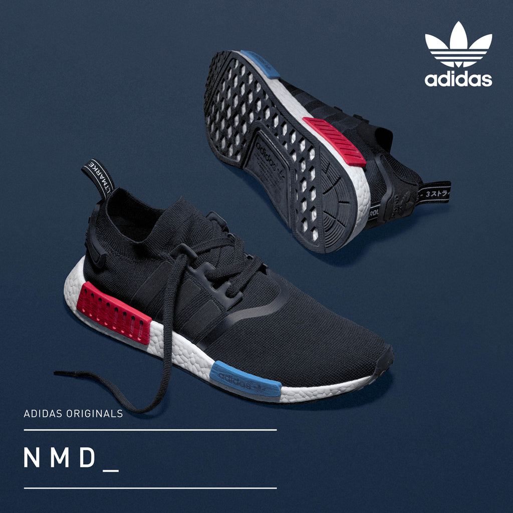 adidas NMD OG Black Lush Red Royal Blue pair