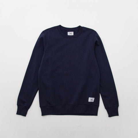 Square Woven Label Sweater - Navy